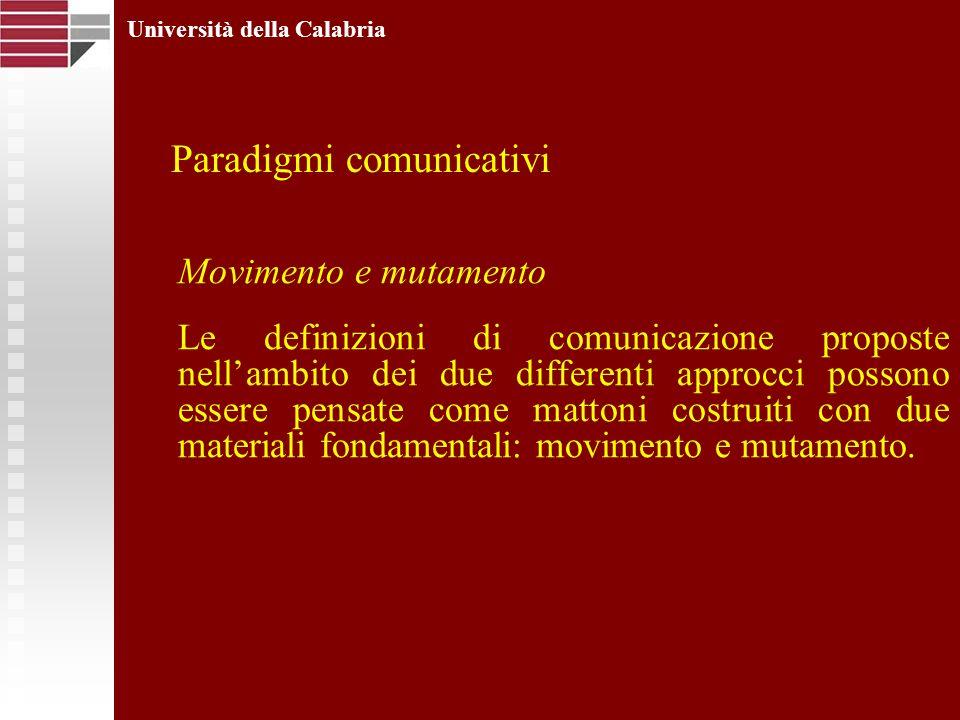 Università della Calabria Movimento e mutamento Le definizioni di comunicazione proposte nellambito dei due differenti approcci possono essere pensate come mattoni costruiti con due materiali fondamentali: movimento e mutamento.