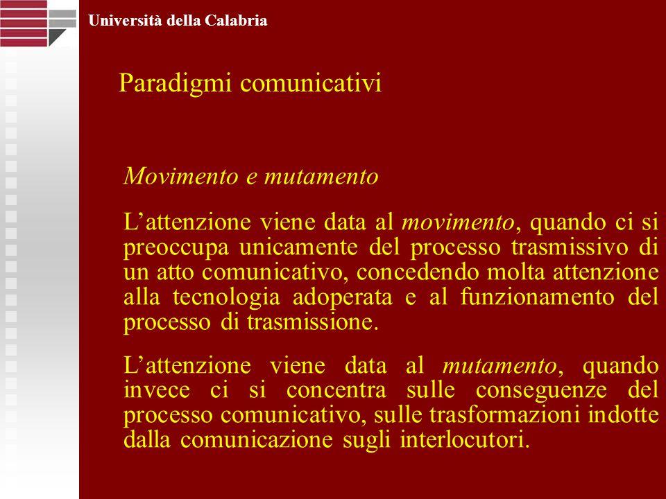 Università della Calabria Movimento e mutamento Lattenzione viene data al movimento, quando ci si preoccupa unicamente del processo trasmissivo di un atto comunicativo, concedendo molta attenzione alla tecnologia adoperata e al funzionamento del processo di trasmissione.