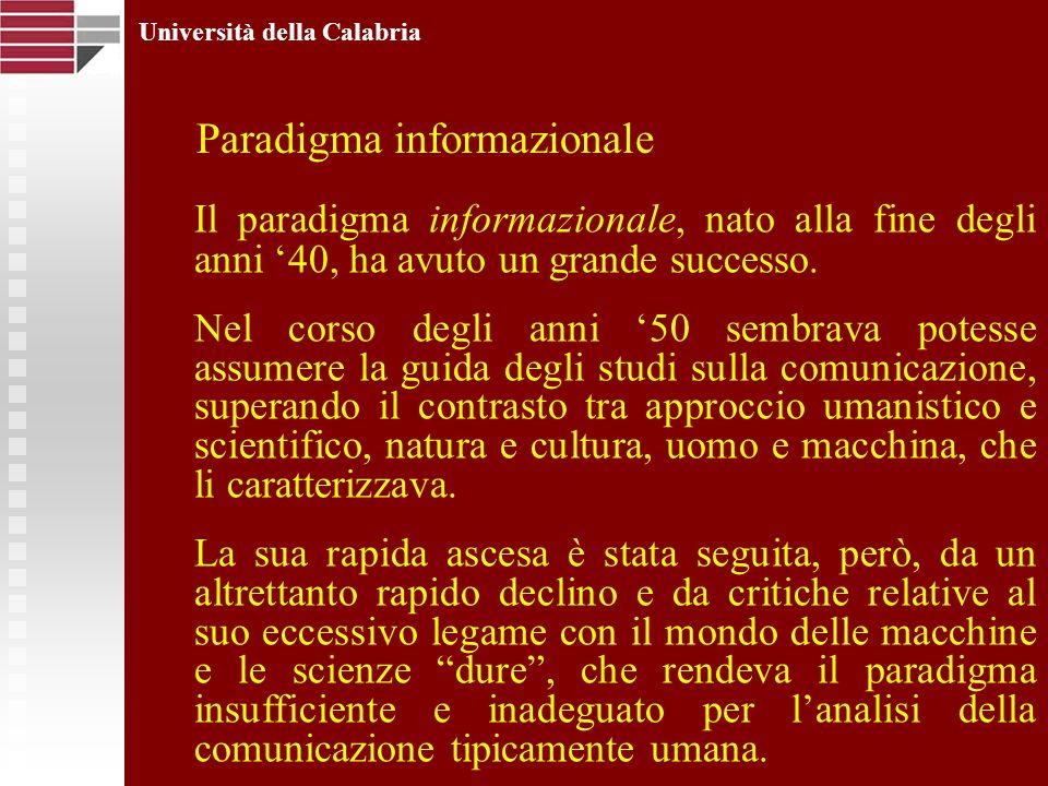 Università della Calabria Il paradigma informazionale, nato alla fine degli anni 40, ha avuto un grande successo. Nel corso degli anni 50 sembrava pot