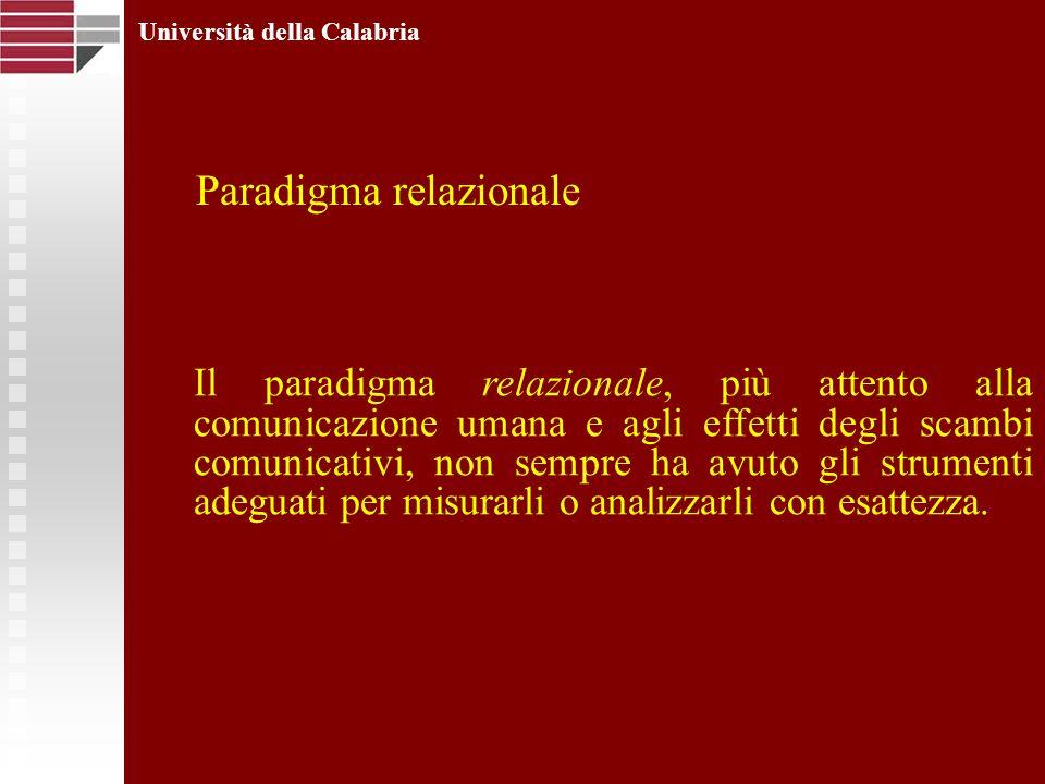 Università della Calabria Il paradigma relazionale, più attento alla comunicazione umana e agli effetti degli scambi comunicativi, non sempre ha avuto