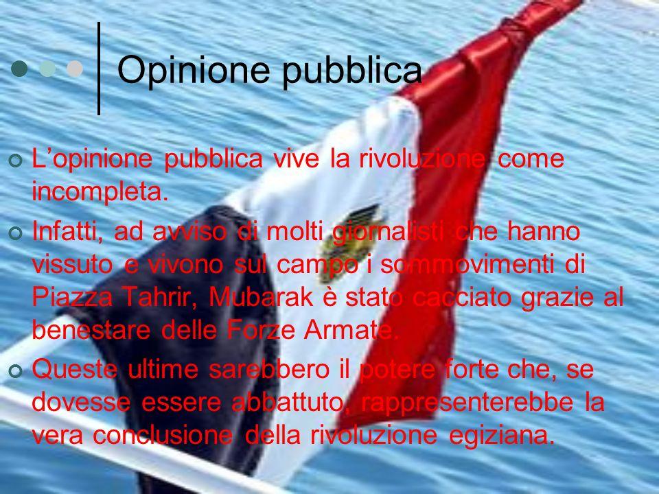 Opinione pubblica Lopinione pubblica vive la rivoluzione come incompleta. Infatti, ad avviso di molti giornalisti che hanno vissuto e vivono sul campo