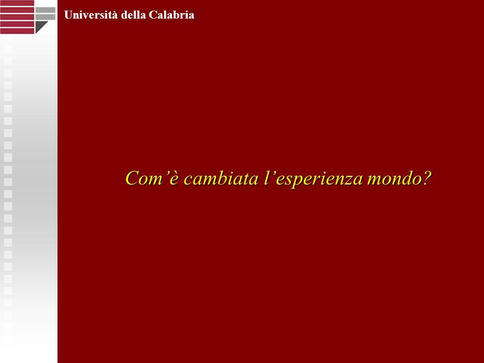 Comè cambiata lesperienza mondo? Università della Calabria