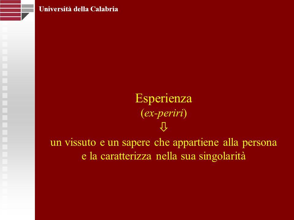 Esperienza (ex-periri) un vissuto e un sapere che appartiene alla persona e la caratterizza nella sua singolarità Università della Calabria