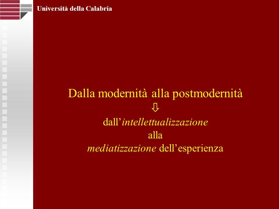 Dalla modernità alla postmodernità dallintellettualizzazione alla mediatizzazione dellesperienza Università della Calabria
