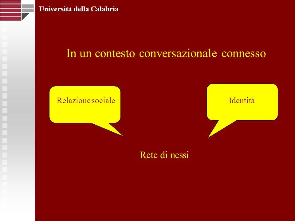 Rete di nessi Università della Calabria IdentitàRelazione sociale In un contesto conversazionale connesso