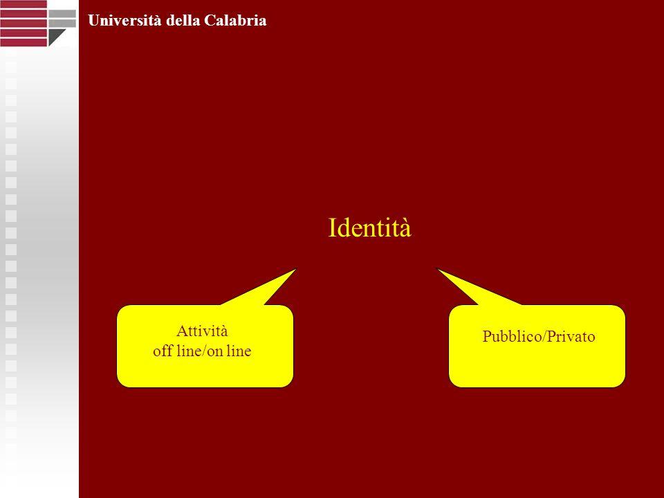 Identità Università della Calabria Attività off line/on line Pubblico/Privato
