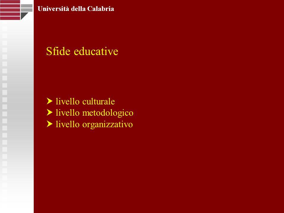 Sfide educative livello culturale livello metodologico livello organizzativo Università della Calabria