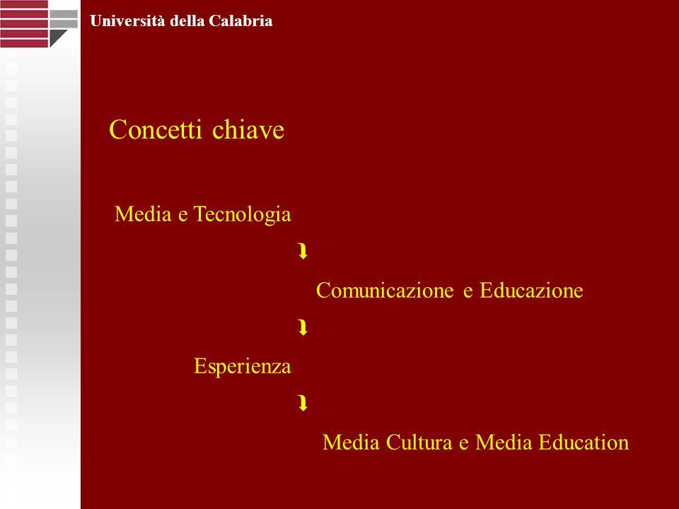 Università della Calabria Media e Tecnologia Comunicazione e Educazione Esperienza Media Cultura e Media Education Concetti chiave