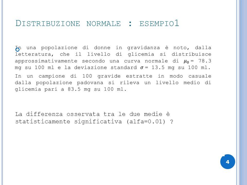 D ISTRIBUZIONE NORMALE : ESEMPIO 1 4 La differenza osservata tra le due medie è statisticamente significativa (alfa=0.01) ?