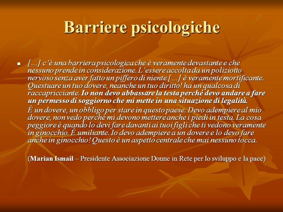 Barriere psicologiche […] cè una barriera psicologica che è veramente devastante e che nessuno prende in considerazione. Lessere accolta da un polizio
