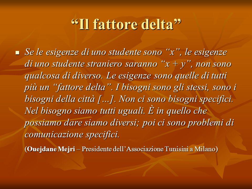 Il fattore delta Se le esigenze di uno studente sono x, le esigenze di uno studente straniero saranno x + y, non sono qualcosa di diverso. Le esigenze