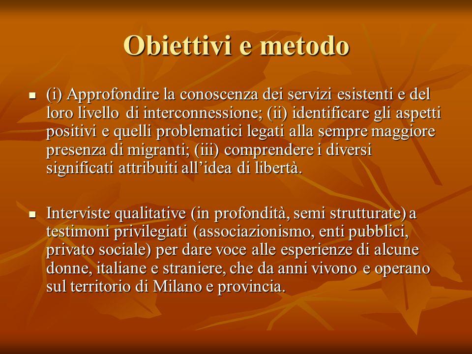 Obiettivi e metodo (i) Approfondire la conoscenza dei servizi esistenti e del loro livello di interconnessione; (ii) identificare gli aspetti positivi