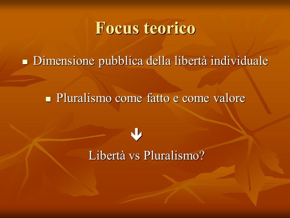 Focus teorico Dimensione pubblica della libertà individuale Dimensione pubblica della libertà individuale Pluralismo come fatto e come valore Pluralis