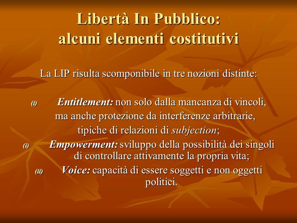Libertà In Pubblico: alcuni elementi costitutivi La LIP risulta scomponibile in tre nozioni distinte: (i) Entitlement: non solo dalla mancanza di vinc