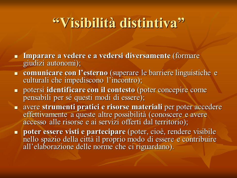 Visibilità distintiva Imparare a vedere e a vedersi diversamente (formare giudizi autonomi); Imparare a vedere e a vedersi diversamente (formare giudi