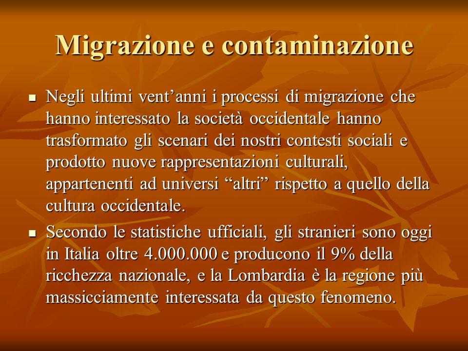 Migrazione e contaminazione Negli ultimi ventanni i processi di migrazione che hanno interessato la società occidentale hanno trasformato gli scenari