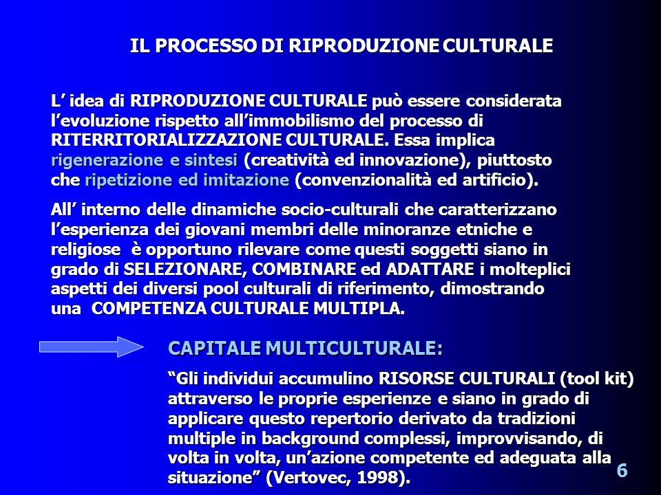 L idea di RIPRODUZIONE CULTURALE può essere considerata levoluzione rispetto allimmobilismo del processo di RITERRITORIALIZZAZIONE CULTURALE.