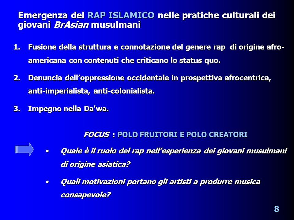 1.Fusione della struttura e connotazione del genere rap di origine afro- americana con contenuti che criticano lo status quo.