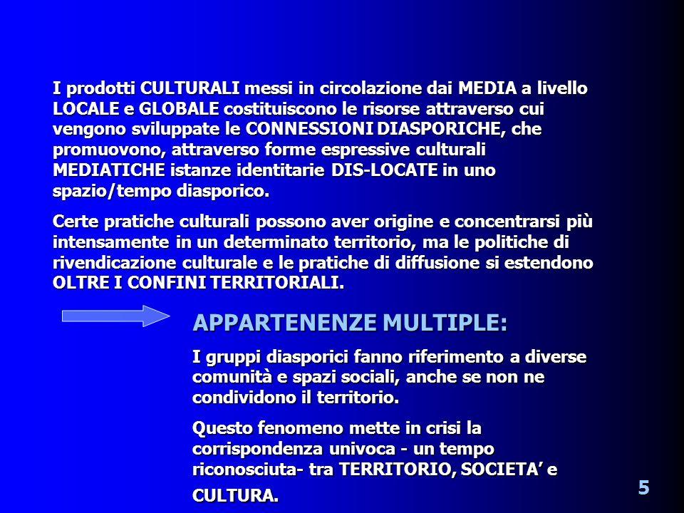I prodotti CULTURALI messi in circolazione dai MEDIA a livello LOCALE e GLOBALE costituiscono le risorse attraverso cui vengono sviluppate le CONNESSIONI DIASPORICHE, che promuovono, attraverso forme espressive culturali MEDIATICHE istanze identitarie DIS-LOCATE in uno spazio/tempo diasporico.