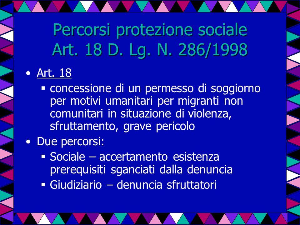 Percorsi protezione sociale Art. 18 D. Lg. N. 286/1998 Art. 18 concessione di un permesso di soggiorno per motivi umanitari per migranti non comunitar
