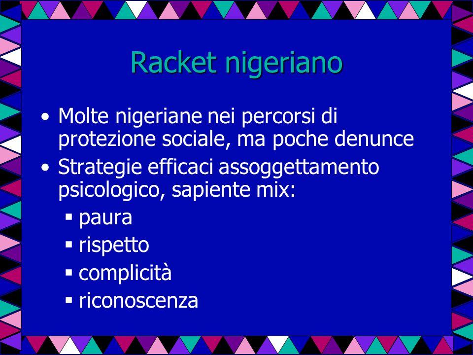 Racket nigeriano Molte nigeriane nei percorsi di protezione sociale, ma poche denunce Strategie efficaci assoggettamento psicologico, sapiente mix: pa
