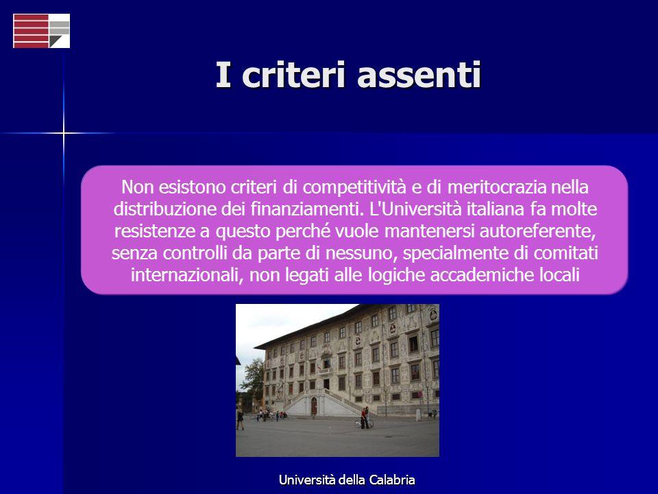 Università della Calabria I criteri assenti Non esistono criteri di competitività e di meritocrazia nella distribuzione dei finanziamenti.