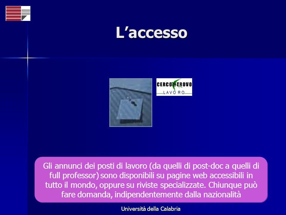 Università della Calabria Laccesso Gli annunci dei posti di lavoro (da quelli di post-doc a quelli di full professor) sono disponibili su pagine web accessibili in tutto il mondo, oppure su riviste specializzate.