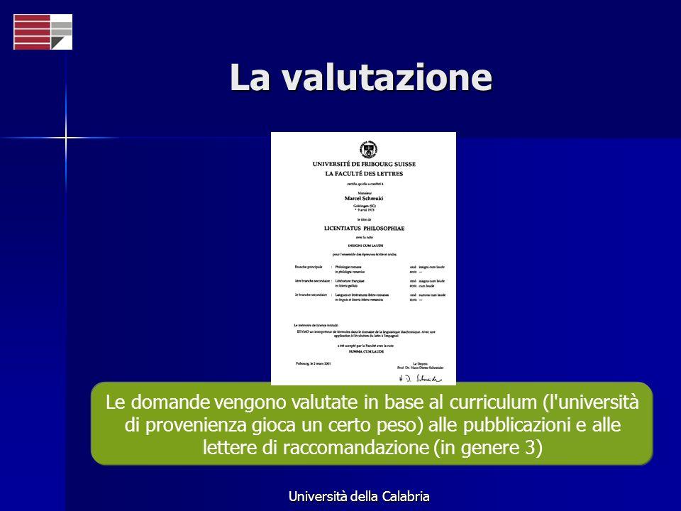 Università della Calabria La valutazione Le domande vengono valutate in base al curriculum (l università di provenienza gioca un certo peso) alle pubblicazioni e alle lettere di raccomandazione (in genere 3)