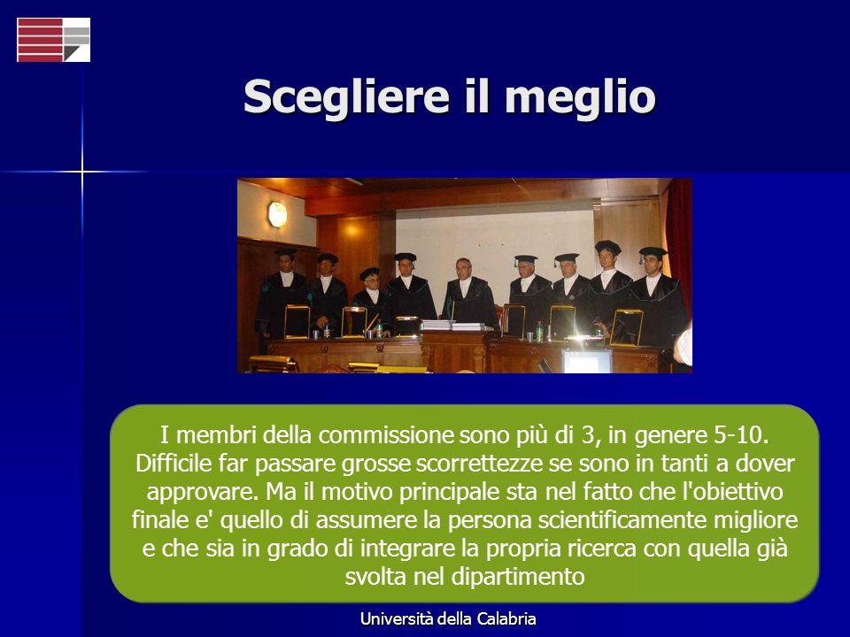 Università della Calabria Scegliere il meglio I membri della commissione sono più di 3, in genere 5-10.