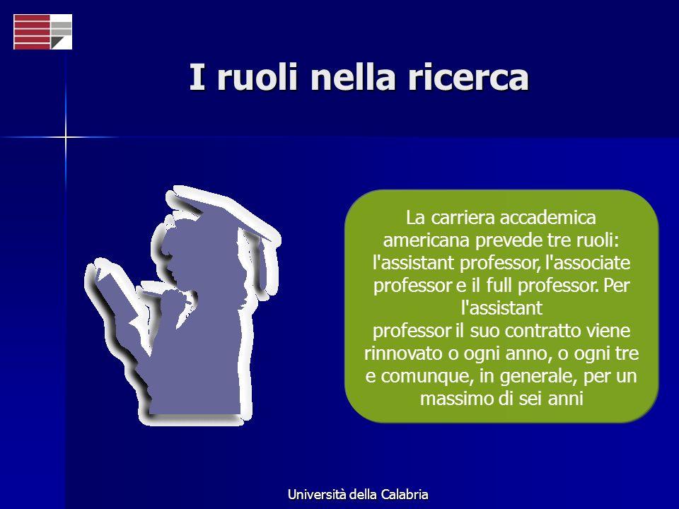 Università della Calabria I ruoli nella ricerca La carriera accademica americana prevede tre ruoli: l assistant professor, l associate professor e il full professor.