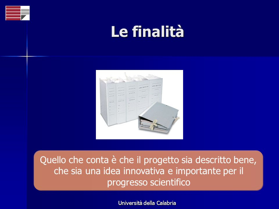 Università della Calabria Le finalità Quello che conta è che il progetto sia descritto bene, che sia una idea innovativa e importante per il progresso scientifico