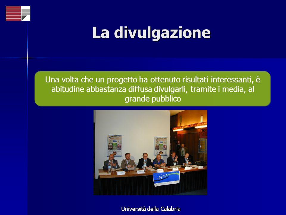 Università della Calabria La divulgazione Una volta che un progetto ha ottenuto risultati interessanti, è abitudine abbastanza diffusa divulgarli, tramite i media, al grande pubblico