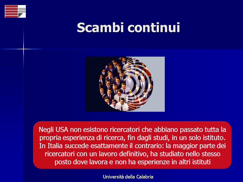 Università della Calabria Scambi continui Negli USA non esistono ricercatori che abbiano passato tutta la propria esperienza di ricerca, fin dagli studi, in un solo istituto.