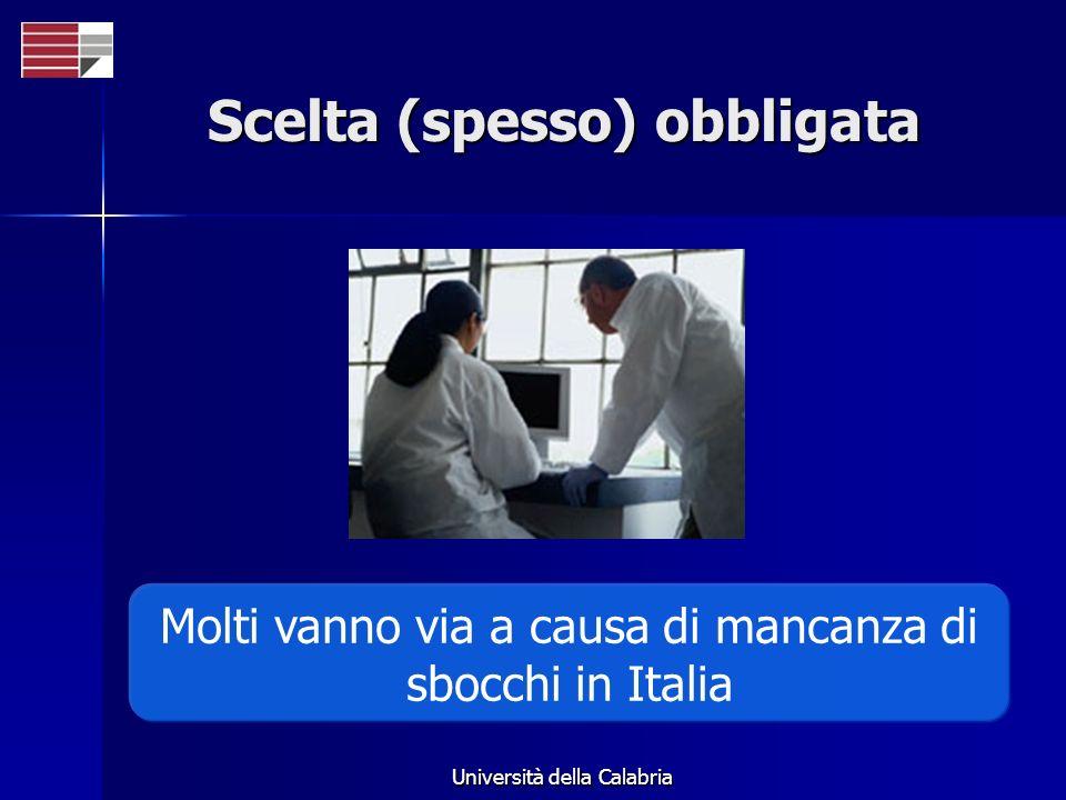 Università della Calabria Scelta (spesso) obbligata Molti vanno via a causa di mancanza di sbocchi in Italia