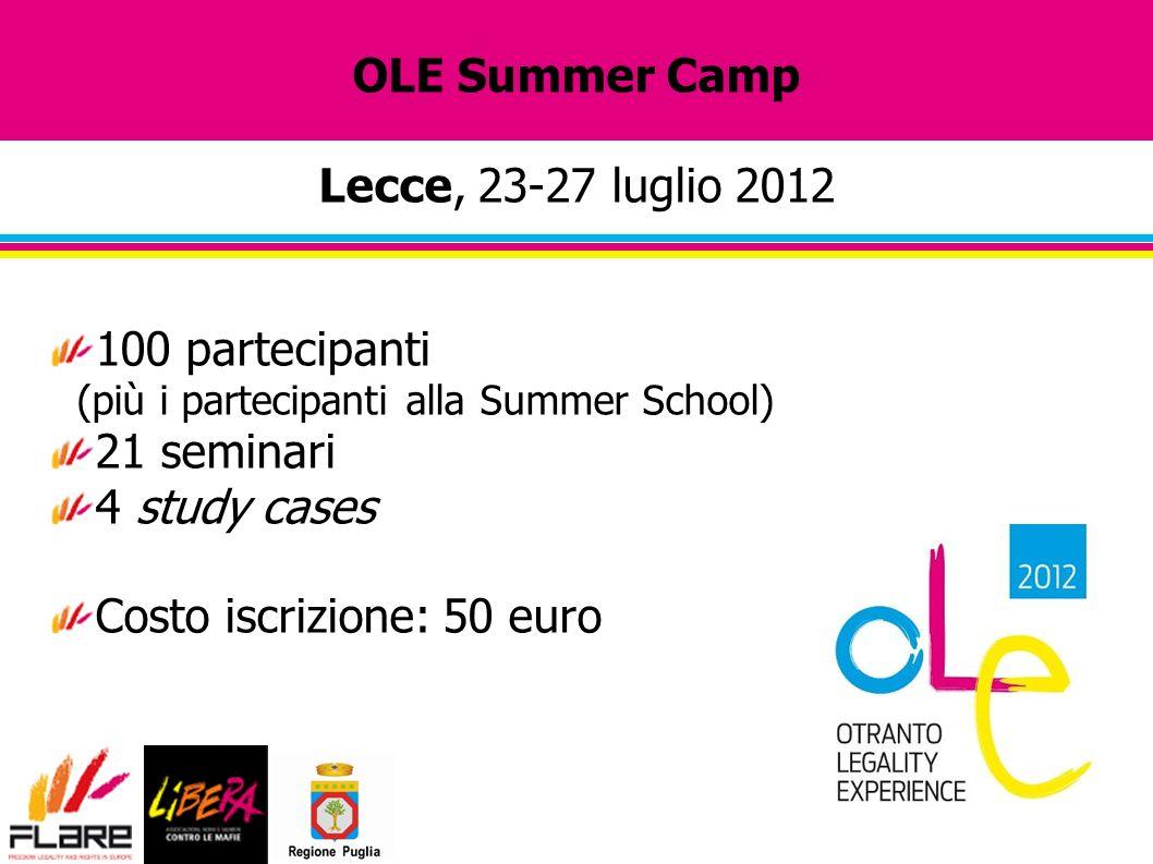 OLE Summer Camp Lecce, 23-27 luglio 2012 100 partecipanti (più i partecipanti alla Summer School) 21 seminari 4 study cases Costo iscrizione: 50 euro