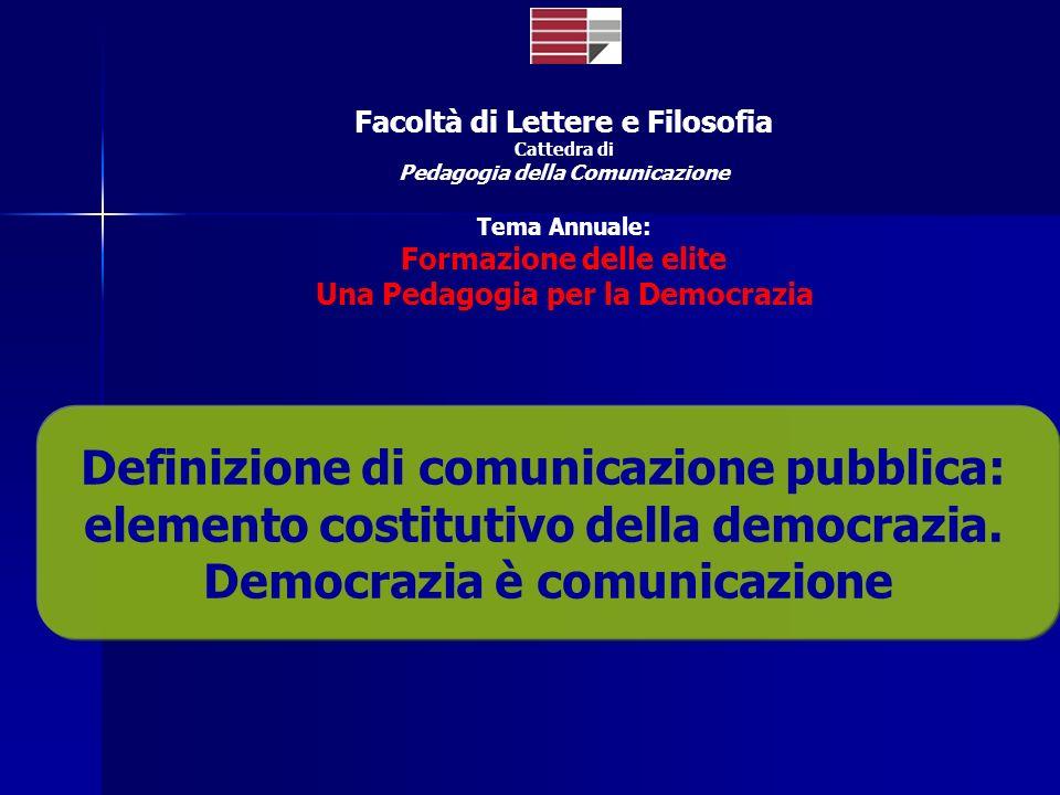 Facoltà di Lettere e Filosofia Cattedra di Pedagogia della Comunicazione Tema Annuale: Formazione delle elite Una Pedagogia per la Democrazia Definizi