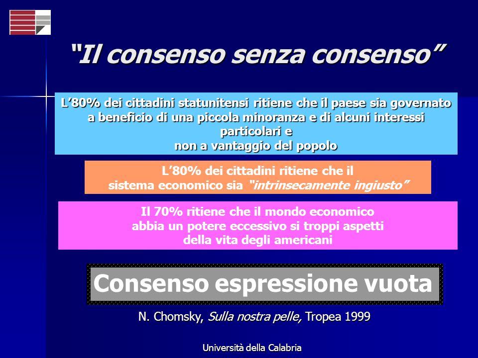 Università della Calabria Il consenso senza consenso L80% dei cittadini statunitensi ritiene che il paese sia governato a beneficio di una piccola min