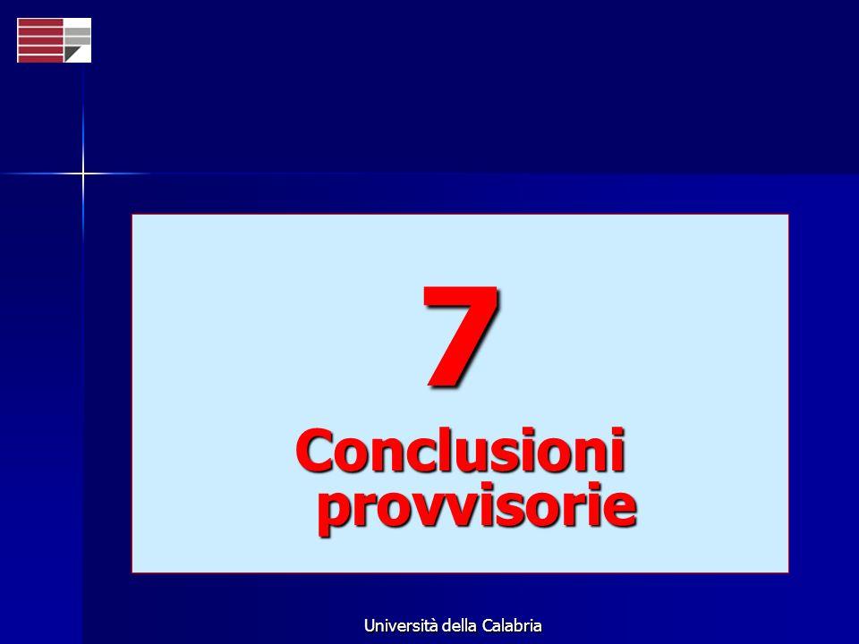 Università della Calabria 7 Conclusioni provvisorie