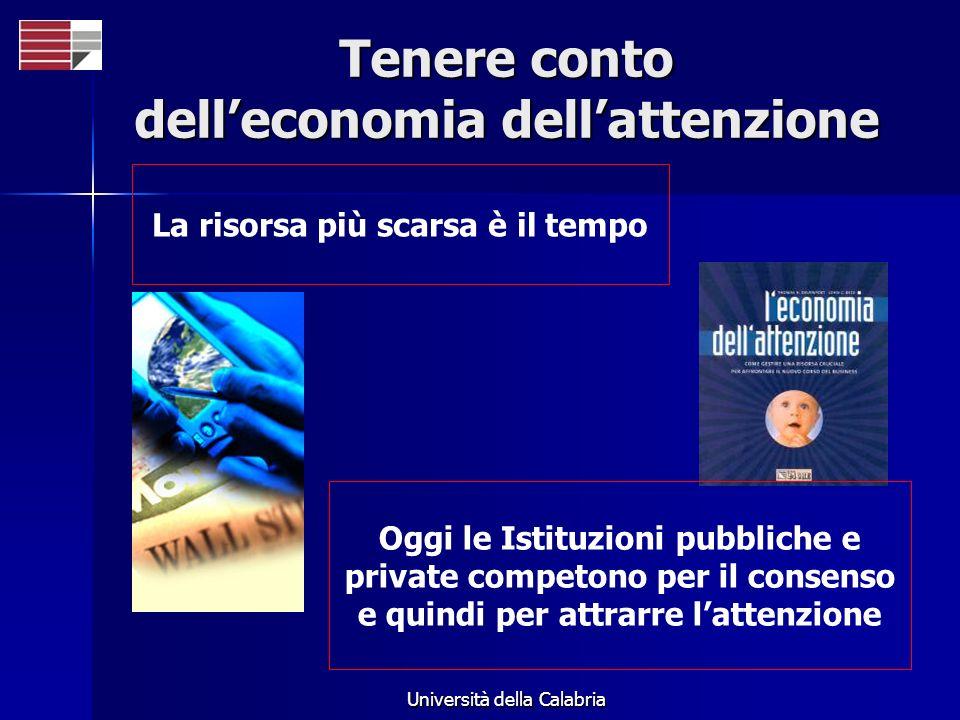 Università della Calabria Tenere conto delleconomia dellattenzione La risorsa più scarsa è il tempo Oggi le Istituzioni pubbliche e private competono