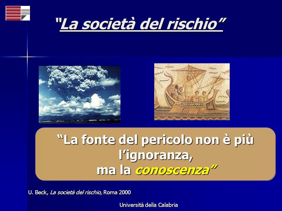 Università della Calabria U. Beck, La società del rischio, Roma 2000 La fonte del pericolo non è più lignoranza, ma la conoscenza La società del risch