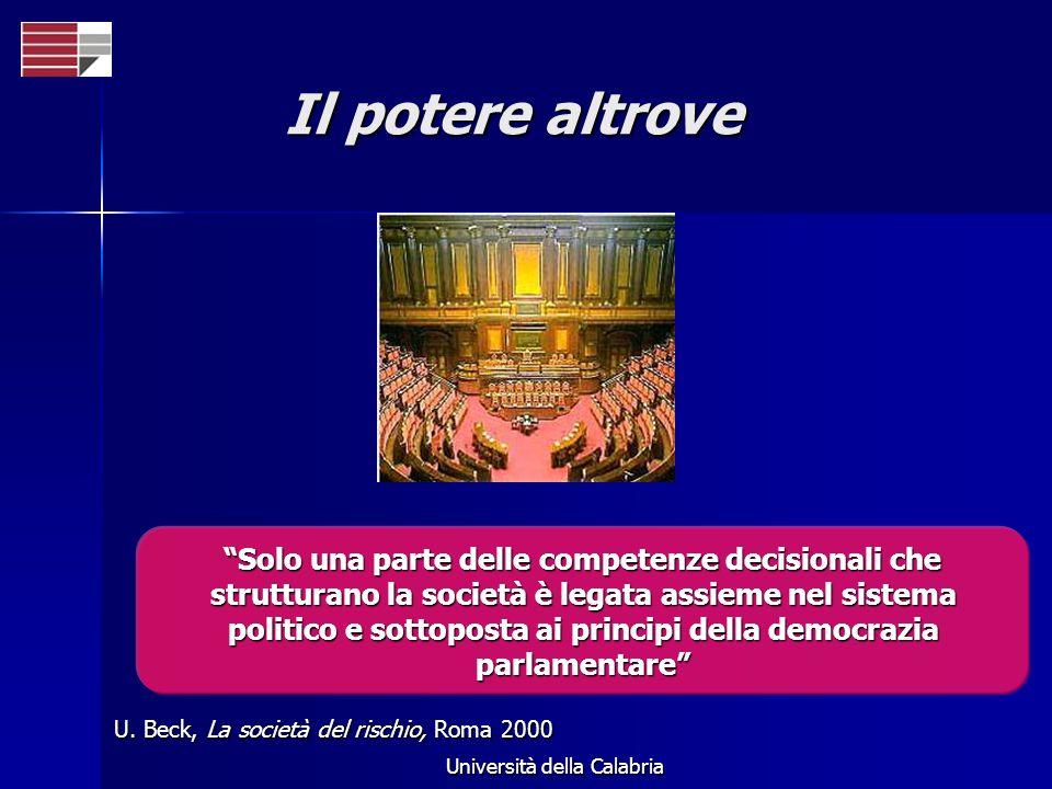 Università della Calabria Il potere altrove U. Beck, La società del rischio, Roma 2000 Solo una parte delle competenze decisionali che strutturano la