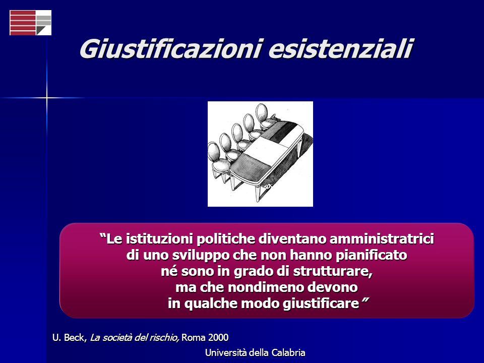 Università della Calabria Giustificazioni esistenziali U. Beck, La società del rischio, Roma 2000 Le istituzioni politiche diventano amministratrici d
