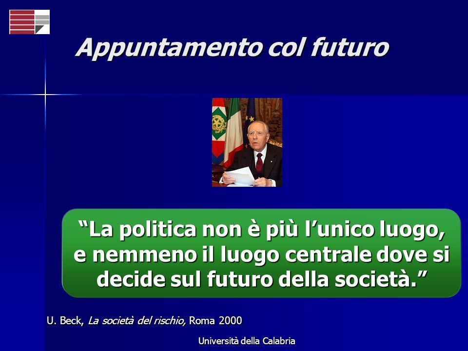 Università della Calabria Appuntamento col futuro U. Beck, La società del rischio, Roma 2000 La politica non è più lunico luogo, e nemmeno il luogo ce