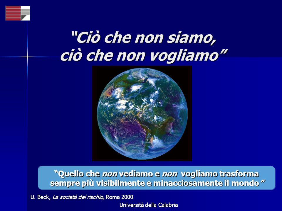 Università della Calabria Ciò che non siamo, ciò che non vogliamo U. Beck, La società del rischio, Roma 2000 Quello che non vediamo e non vogliamo tra