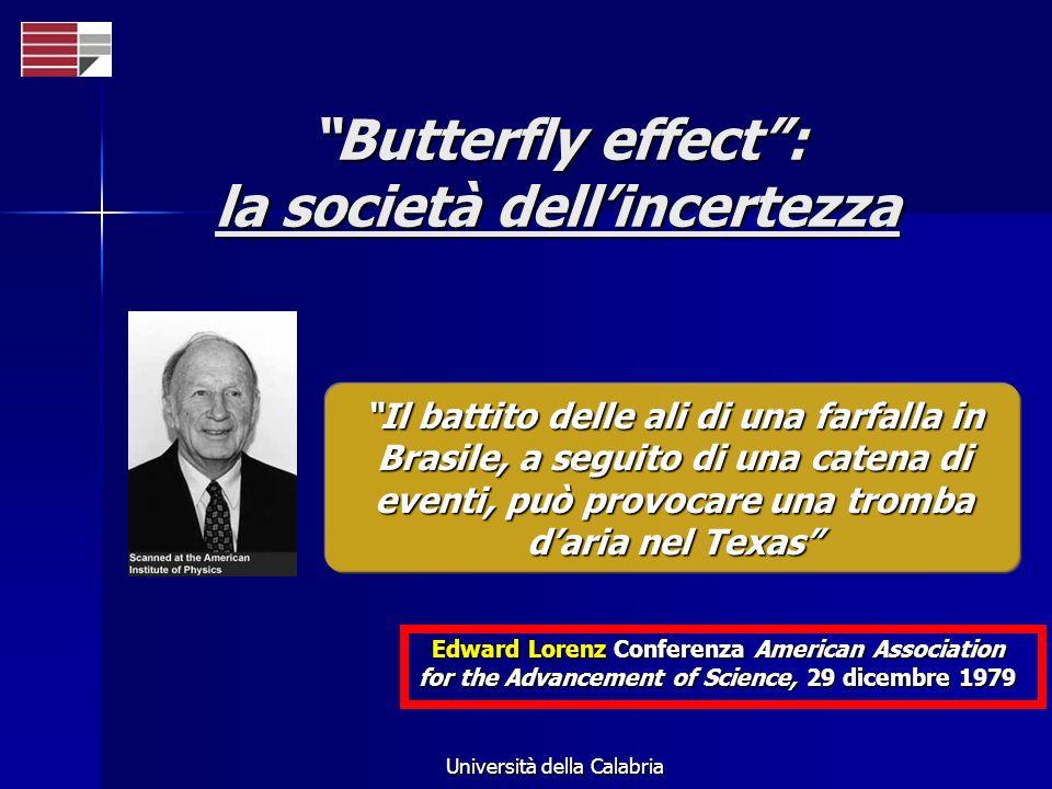 Università della Calabria Butterfly effect: la società dellincertezza Il battito delle ali di una farfalla in Brasile, a seguito di una catena di even