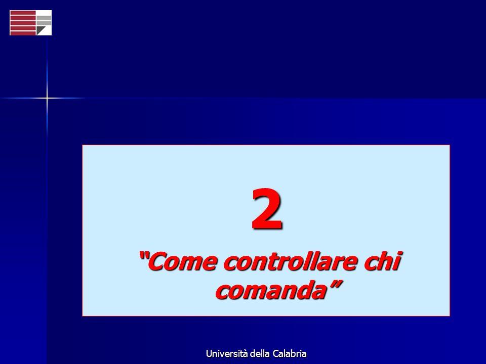 Università della Calabria 2 Come controllare chi comanda