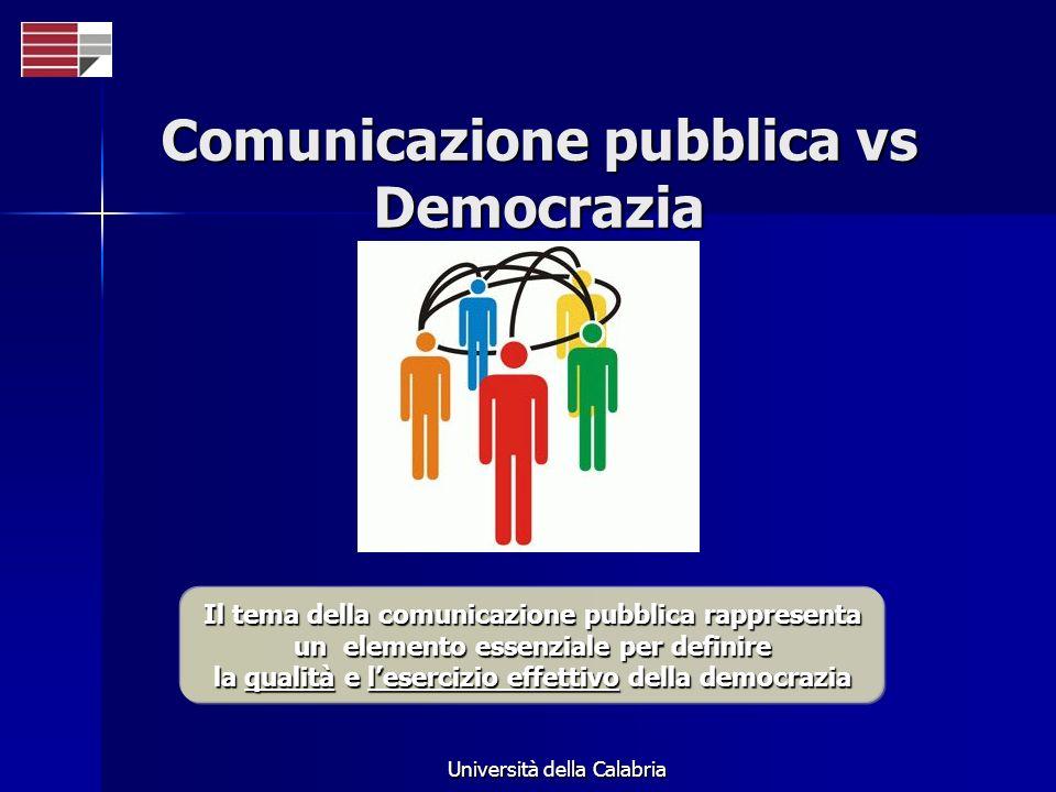Università della Calabria Comunicazione pubblica vs Democrazia Il tema della comunicazione pubblica rappresenta un elemento essenziale per definire la