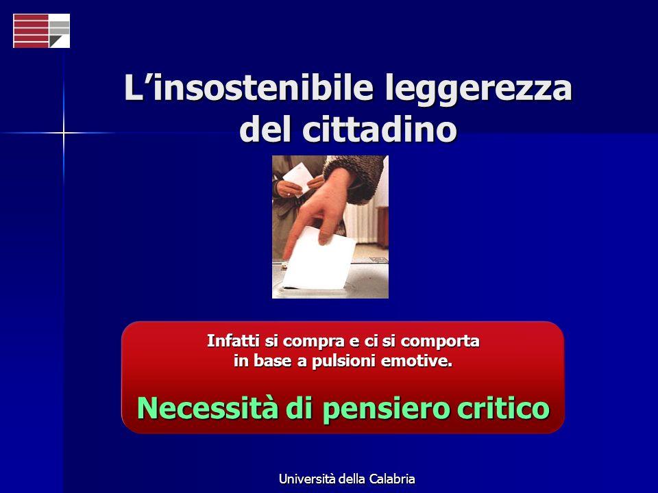 Università della Calabria Linsostenibile leggerezza del cittadino Infatti si compra e ci si comporta in base a pulsioni emotive. Necessità di pensiero