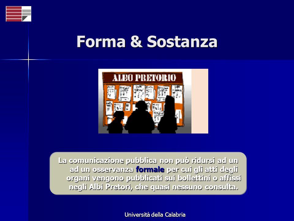 Università della Calabria Forma & Sostanza La comunicazione pubblica non può ridursi ad un ad un osservanza formale per cui gli atti degli organi veng