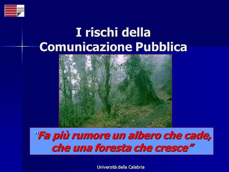 Università della Calabria Fa più rumore un albero che cade,Fa più rumore un albero che cade, che una foresta che cresce I rischi della Comunicazione P